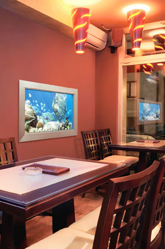 L'aquarium virtuel eSea dans un restaurant